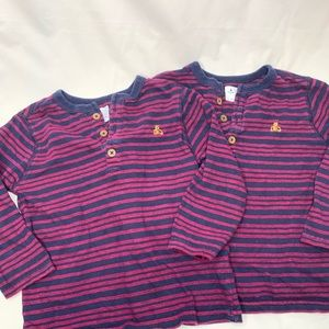 Twin 2T red and blue stripe long sleeve shirt